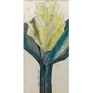 Aldemir Martins, Flores, Nanquim e Aquarela, 33 x 17 cm , assinado e datado 1964.
