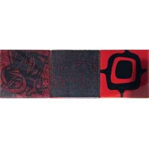 ROBERTO BURLE MARX. Raríssimos azulejos originais com desenhos confeccionados pela GEA Cerâmica (década de 70) para composição de painéis do artista. Quadro contendo três peças 10x10 cm cada.
