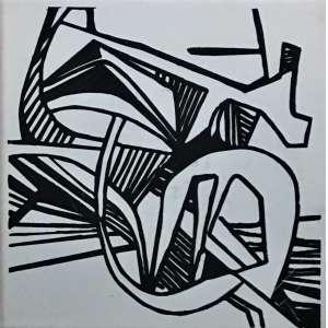 ROBERTO BURLE MARX. Raríssimo azulejo original, com desenho confeccionado pela GEA Cerâmica (década de 70) para composição de painéis do artista. Quadro contendo uma peça 20x20 cm, emoldurada.