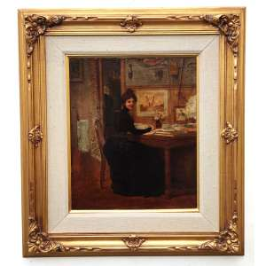MARIE - GABRIEL BIESSY ( FRANCE: Saint-Pierre-du-Mont, 1854- Bourg-la-Reine, 1935)<br />Medidas: 55 x 46 cm, na moldura 82 x 91cm.<br />Óleo sobre tela.<br />Cena do cotidiano figurada por sua esposa Marthe Gambier.<br /><br />Pintor francês com distinção de Cavaleiro da Legião de Honra.<br /><br />Estudou na École des Beaux-Arts de Lyon. <br /><br />Em Paris no ano 1879 trabalhou no estúdio de Carolus Duran e no de Luc-Olivier Merson. <br /><br />Desde 1882 participou regularmente do Salão da Sociedade Nacional de Belas Artes, onde obteve menção honrosa em 1883.<br /><br />Em 1895 foi condecorado como membro da Sociedade Nacional de Belas Artes.<br /><br />Obteve uma menção honrosa na Exposição Universal de 1889.<br /><br />Foi medalhista de bronze na mais famosa mostra do início do séc XX: A EXPOSIÇÃO UNIVERSAL DE PARIS DE 1900 e também, neste mesmo ano, medalhista de prata no Crystal Palace de Londres.<br /><br />Foi nomeado Cavaleiro da Legião de Honra em 22 de janeiro de 1902.<br /><br />Pintou principalmente retratos, vistas de Paris, mas foi mesmo aclamado e laureado, com cenas do cotidiano representando a vida de seu tempo - o que lhe deixou famoso.<br />Termina sua carreira como Diretor de Belas Artes no Cairo e se aposenta partindo para Bourg-la-Reine.<br /><br />REFERÊNCIAS: Édouard-Joseph, Dictionnaire biographique des artistes contemporains, tome 1, A-E, Art & Édition, 1930, p. 137<br /><br />Bénézit, 1948, 1999<br /><br />Gérald Schurr, Les Petits maîtres de la peinture, valeur de demain, Éditions de l'Amateur, 1979, p. 118<br /><br />Dominique Lobstein, Défense et illustration de l'Impressionnisme, L'Échelle de Jacob, 2008, p. 72<br /><br />https://fr.wikipedia.org/wiki/Gabriel_Biessy<br />