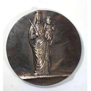 MIGUEL LANGONE - Medalhão em bronze, década de 1930, assinado pelo escultor italiano Miguel Langone - 14/04/1892<br />Placa em bronze circular com imagem NOSSA SENHORA AUXILIADORA. Medidas: 22,5 cm. de diâmetro