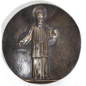 MIGUEL LANGONE.- Medalhão em bronze, década de 1930, assinado pelo escultor italiano Miguel Langone - 14/04/1892<br /> Placa em bronze circular com imagem de SÃO FRANCISCO XAVIER, missionário na Índia Portuguesa e no Japão, anos 1500, contemporâneo de Santo Inácio de Loyola.<br />Medidas: 20,5 cm de diâmetro.