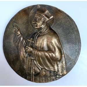 MIGUEL LANGONE.- Medalhão em bronze, década de 1930, assinado pelo escultor italiano Miguel Langone - 14/04/1892<br />Placa em bronze circular com imagem de SANTO IVO. Medidas: 23 cm de diâmetro.