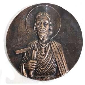 MIGUEL LANGONE - Medalhão em bronze, década de 1930, assinado pelo escultor italiano Miguel Langone - 14/04/1892<br />Escultura em bronze circular com a imagem de SÃO JOSÉ OPERÁRIO. Medidas: 16,5 cm de diâmetro.