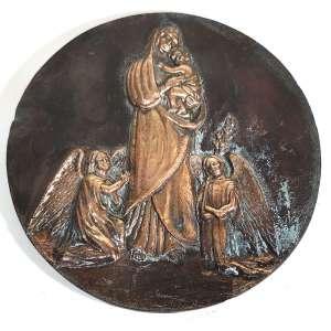 MIGUEL LANGONE.- Medalhão em bronze, década de 1930, assinado pelo escultor italiano Miguel Langone - 14/04/1892<br /> Placa em bronze circular com a imagem de NOSSA SENHORA DE BELÉM, a partir da pintura<br />de Melchior-Paul von Deschwanden (Swiss,1811 – 1881) encomendada em 1873 para o Acervo da Catedral de Belém do Pará, Brasil. <br />Medidas: 24 cm de diâmetro.