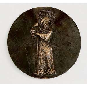 MIGUEL LANGONE - Medalhão em bronze, década de 1930, assinado pelo escultor italiano Miguel Langone - 14/04/1892)<br /> Placa em bronze circular com imagem de SÃO BENTO. Medidas: 20 cm de diâmetro.