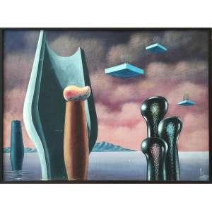 WALTER LEWY (Bad Oldesloe, Alemanha 1905 - São Paulo SP 1995)<br />Medidas: 60 x 80 cm. / 62 x 83 cm.<br />Óleo sobre tela.<br />1983<br /><br />Surrealista alemão contemporâneo do escritor francês André Breton 1896-1966 que em 1924 publicou o Manifesto Surrealista.<br /><br />Walter Lewy, em 1923, estudava na Handwerk und Kunstgewerbeschule, escola alinhada com a filosofia das vanguardas, semelhante a Bauhaus. Já o Manifesto Surrealista, foi publicado pelo escritor francês André Breton em 1924. Os dois eram fortemente influenciados pelas teorias psicanalíticas do psicólogo Sigmund Freud, pois era o espirito da época do qual Lewy é legitimo representante.<br /><br />A iconografia de Lewy pode ser comparada à de Dali, Ernst ou Tanguy, ao explorar a condição humana, por meio de imagens desafiadoras a percepção da realidade do espectador.<br />Na Segunda Guerra Mundial, praticamente todos os membros do grupo surrealista foram forçados ao exílio: Salvador Dali, Max Ernst, Yves Tanguy e André Breton nos Estados Unidos semelhante a Lewy no Brasil. Neste período seus pais foram mortos no campo de concentração de Auschwitz.<br /><br />No Brasil, sem nunca abrir mão de seu estilo, fez parte do modernismo, frequentando o Grupo Santa Helena<br /><br />lustrou vários livros para diversas editoras, em obras de renomados autores: Machado de Assis, Sérgio Milliet, Franz Kafka, Arnold Toynbee, entre outros.<br /><br />Acervo<br />Mac<br />Masp