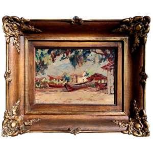 CAMPÃO, José Marques Campão. (São Paulo, 1892-1949). <br />Óleo sobre eucatex<br />Medidas: 16 x 22 cm. / 29 x 35,5 cm.<br />ICONOGRÁFICO: Vila de pescadores, Praia do Guaeca, São Sebastião-SP, 1944.<br /><br />Com 13 anos começou com Oscar Pereira da Silva <br />Em 1910, com 18 anos estudou na Academia Julian de Paris <br />Em 1912, entrou para a Escola de Belas Artes de Paris <br />Na Europa diversos prêmios no Salão de Artistas Franceses.<br />Retornou ao Brasil por conta da guerra, mas em 1925, Voltou à Paris, participando de inúmeras edições do Salão e casou-se com uma francesa.<br />Em 1930, retornou para São Paulo e passou também a viajar por, Minas Gerais, Rio de Janeiro, Goiás e Paraná pois tinha grande apreço por retratar regiões montanhosas e litorâneas.<br />Organizar diversas exposições as quais estão inseridas no movimento impressionista brasileiro, que vigorou no século XX.<br />Integrou a importante Comissão de Orientação Artística em São Paulo.