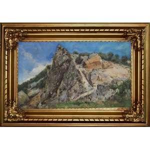 ACADEMIA IMPERIAL DE BELAS ARTES - GRUPO GRIMM<br /><br />ANTONIO PARREIRAS (1860 - 1937)<br />Montanhas rochosas, Serra das Araras, RJ.<br />O.S.T. <br />Medidas: 40 x 70 cm. / 66 x 95 cm.<br />Assinado e datado (1932)<br /><br />Considerando que entre os nomes de seus maiores já falecidos, conta o Estado do Rio de Janeiro, com o de Antônio Parreiras. Pintor genial que ainda em vida, fora consagrado o mais eminente dos<br />artistas entre os brasileiros.<br /><br />Essa obra, uma das primeiras após longos anos de sucesso em Paris pintando nu artístico, revela a retomada pelo espirito do Grupo Grimm, do qual foi um de seus fundadores na década de 1880, quando o alemão Johann Georg Grimm reúne em torno de si um grupo de estudantes entusiasmados com a ideia de, como ele, pintar o naturalismo do ambiente nacional, o que em muito se celebrou na imprensa nacional, pois a iniciativa do estrangeiro que fazia ver aos brasileiros sua própria terra.<br /><br />Os artistas que fizeram parte desse grupo são fundamentais dentro da história da arte brasileira, dentre eles: Antonio Parreiras, Giambattista Castagneto, Garcia y Vasquez, Hipólito Caron, Gomes Ribeiro e França Júnior, que dedicaram-se à pintar realísticas paisagens, e como um desafio o dificílimo tema de pedreiras.<br /><br />Parreiras:<br /><br />Em 1883, matriculou-se na Academia Imperial.<br /><br />Em 1884, deixou de fazer parte da Academia para pintar d'après nature junto ao núcleo formado pela inspiração do pintor alemão Georg Grimm.<br /><br />EM 1886 Dom Pedro II não só visitou a exposição na casa do paisagista niteroiense, mas também adquiriu duas obras do pintor. Foi então que a Academia encomendou algumas obras, sob a condição de quando retornasse ao Brasil, lecionasse algumas aulas sem a necessidade de receber salário.<br />Na França, Parreiras montou seu próprio ateliê e tornou-se sucesso, quando voltou, cumpriu o acordo e tornou-se professor de paisagem na Academia.<br /><br />Nos vários anos entre Brasi
