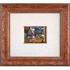 SEMANA DE ARTE MODERNA DE 1922<br /><br />DI CAVALCANTI (Emiliano Augusto Cavalcanti de Albuquerque Melo, Rio de Janeiro, 1897 — 1976)<br />Medidas: 18 x 23 cm.<br />Moldura: 85 x 92 cm.<br />óleo sobre tela.<br />Datado: 1950<br /> <br />