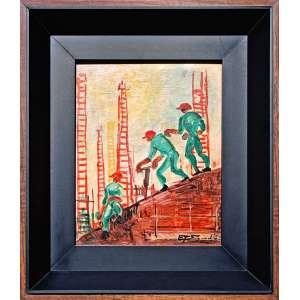 Eugenio de Proença Sigaud, <br />Trabalhadores <br />Óleo sobre placa <br />Datado 1971 <br />Medidas: 25 x 20 cm. / 38 x 33 cm.<br /><br />Em 1921, frequenta o curso livre da Escola Nacional de Belas Artes (Enba).<br />Em 1927, ingressa no curso de arquitetura da Enba, que conclui em 1932.<br />Em 1931, participa do 38º Salão Nacional de Belas Artes, organizado pelo urbanista Lucio Costa e conhecido como Salão Revolucionário que leva ao afastamento do urbanista da direção da instituição. Funda o Núcleo Bernardelli, junto de Quirino Campofiorito, Milton Dacosta, Joaquim Tenreiro e José Pancetti. <br />Em 1935 Sigaud ingressa no Grupo Portinari, que se reúne em torno de Candido Portinari, tendo como uma de suas principais linhas de atuação a pintura mural. <br />Em 1935 Sigaud torna-se um dos principais porta-vozes do muralismo ao publicar o artigo: Por que É Esquecida entre Nós a Pintura Mural?, no Jornal de Belas Artes. <br /><br />Em 1951 foi um dos artistas brasileiros selecionados para a 1ª Bienal Internacional de São Paulo<br /><br />Sigaud, projetou e decorou a Catedral Metropolitana de Jacarezinho, no Paraná, entre 1954 e 1957.