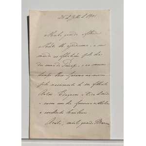 Transcrição dos cartões de Isabel Condessa D`eu<br /><br /><br /><br />Cartão 1:<br /><br /><br />Descrição da peça: Carta resposta escrita por ISABEL, CONDESSA D'EU, Ex PRINCESA ISABEL DO BRASIL, em 1901 para sua afilhada de alcunha ''MARICAS''; Na carta escrita à próprio punho a condessa agradece as felicitações prestadas por maricas à possível comemoração aos 10 anos do Título de PRINCIPE IMPERIAL DO BRASIL, concedido à seu primogênito DOM PEDRO DE ALCANTARA DE ORLEANS E BRAGANÇA, o qual viria a abdicar da totalidade de seus direitos sete anos depois, originando os atuais ramos dinásticos do Brasil em Petrópolis e em Vassouras. O ano de 1901 foi um conturbado período de acontecimentos históricos como as mortes de JANUÁRIA DE ORLEANS, filha de DOM PEDRO I, e da grande RAINHA VITÓRIA da Inglaterra, além de ser o ano dos grandes avanços na aviação e a volta da torre Eiffel no incrivelmente rápido Dirigível número 6 de ALBERTO SANTOS DUMONT, na corrida do prêmio DEUTSCH, sendo o mesmo período em que o grande aviador se tornaria amigo íntimo de ISABEL, CONDESSA D'EU.<br /><br /><br /><br />Interior do Cartão:<br /><br />26 de julho de 1901<br /><br />Minha querida afilhada<br /><br />Muito lhe agradecemos e a seu marido as felicitações pelo dia do amado Príncipe, e ao mesmo tempo lhes faremos as ........ pelo nascimento de seu filhinho Anton. Eduquem a ... de modo a serem um dia fervorosa catholica e .... brasileira<br />Aceite minha querida marica<br />muitas saudades, e creia-me sempre sua madrinha muito affeiçoada <br />ISABEL CONDESSA D'EU<br /><br /><br />Papel com marca D'agua: ( St. GEORGE'S) Ostentando monograma com as letras ''M'', ''Í'', ''P''.<br /><br />Medidas: 17,5 x 22,5 cm.<br />
