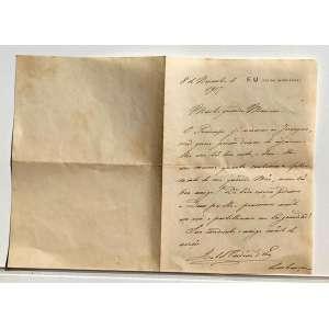 Cartão 2:<br /><br />Descrição do documento: Carta escrita por ISABEL, CONDESSA D`EU, Ex PRINCESA ISABEL DO BRASIL, em 1917 (Quatro anos antes de sua morte, e um ano antes do fim da primeira GRANDE GUERRA) à sua afilhada de alcunha ''MARICAS''. Na carta escrita à próprio punho ISABEL CONDESSA D'EU presta seus sentimentos ao falecimento da mãe de Maricas. Demonstra também o documento uma amizade intima e afetuosa correspondida por no mínimo 16 anos. A carta foi enviada do Chateau d`Eu (SEINE INFÉRIEURE, NORMANDIA, Lugar que mais tarde teria seu nome mudado para SEINE MARITIME) Propriedade antes pertencente ao avô de seu marido o REI LUÍZ FILIPE I DA FRANÇA, adquirida por seu marido LOUIS PHILIPPE MARIE FERDINAND GASTON, o CONDE D`EU, em 1905 onde passam a residir até os dias de seu falecimento.<br />Interior do Cartão:<br /><br />8 de novembro de 1917<br /><br />Minha querida Maricas,<br /><br />O príncipe já escreveu ao Jeronymo, não quero porém deixar de agradecer ..... sua .... boa casta, e dizer-lhe em mesma quanto sentimos o falecimento de sua querida mãe, nossa ... boa amiga! DE todo coração pedimos à Deus por ella e pensamos muito em você e partilhamos sua ... gratidão! Sua madrinha e amiga muito de coração<br /><br />ISABEL CONDESSA D`EU<br /><br />Lembranças afetuosas a seu marido e filhos.<br /><br />Papel timbrado: E.U (seine inférieure)<br /><br />Medidas: 17 x 24 cm.<br />
