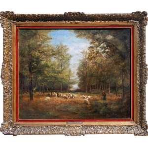 PEINTRE DE L'ÉCOLE DE BARBIZON<br />Artista com obras no Musee D'Orsay<br /><br />JEAN FERDINAND CHAIGNEAU (Bordéus, França, 1830 - Barbizon, França, 1906<br />Óleo sobre tela<br />Med. 65 cm x 82 cm. / 86 x 62 cm.<br />Datado: 1879<br />Ovelhas em Fontainebleau<br /><br />Importante artista com obras nos museus:<br /><br />Musee D'Orsay<br />Departamento de Artes Gráficas do Museu do Louvre - coleção de desenhos.<br />Metropolitan Museum of Art, NY<br />Museu de Belas Artes da Cidade de Paris<br />Musée municipal de l'école de Barbizon<br />Musée des beaux-arts de Lyon<br />Musée des beaux-arts de Bordeaux<br />Museu de Belas Artes de Rennes<br />Amiens: Musée de Picardie<br />Art Institute of Chicago<br />Victoria and Albert Museum, Londres<br />Manchester Art Gallery<br />Petit Palais<br /><br />SOBRE:<br />Entrou na École des beaux-arts de Paris em 1849.<br /><br />Expôs pela primeira vez no Salão de 1848<br /><br />Em 1854 obtem o terceiro lugar no concurso Académie des Beaux-Arts e torna-se residente da cidade de Paris. Chaigneau então se afastou da pintura histórica para dedicar-se à paisagem e temas animais.<br /><br />Participou da Exposição Universal de 1855 e Continuou a expor regularmente nos Salões<br />Apartir de 1858, encantado com a verdejante floresta de Fontainebleau, mudou-de para Barbizon e <br />torna, com Théodore Rousseau, Camille Corot e Jean-François Millet , um dos membros da Escola Barbizon.<br /><br />Foi particularmente conhecido durante a sua vida pela sua arte de pintar animais , caracterizada pelo seu talento para demarcar rebanhos de ovelhas que, de certa forma, constitui a sua marca registada. <br /><br />Foi também gravador, autor de um álbum de seis placas, Paysages et moutons (1862), depois de doze gravuras originais intituladas Voyage around Barbizon. Além disso, em 1880 ele publicou um Projeto para a reorganização das exposições anuais de artes plásticas .<br /><br />Medalha de bronze na Exposição Universal de 1889<br /><br />F