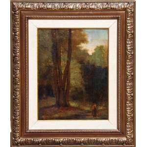 AUGUSTE ESTIENNE (1794-1865)<br />Paisagem com floresta e figura<br />óleo sobre tela colada em madeira <br />med. 36 x 27 cm,<br />Assinado: Estienne - 1850<br />Consta de selo de Atelier de restauro: H. Zara, São Paulo.<br /><br />Segundo Benezit, vol. 04 pagina 205<br />ESTIENNE (Auguste), <br />Pintor de história e gênero, nascido em Paris em 28 de junho de 1794, morreu em 1865 <br />Entrou na École des Beaux-Arts em 16 de janeiro de 1817, onde treinou sob a direção de Gros. <br />No Salão Nacional de Belas Artes da França, obteve uma distinção de honra nos anos de de 1831 a 1861. <br />Citamos como obras emblemáticas: <br />Psiquê abandonada por Eros, A partida de Roma.