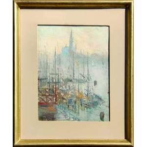COLEÇÕES ITALIANAS EM SÃO PAULO - INICIO DO SECULO XX<br /><br />GENNARO FAVAI (Veneza, Itália, 1879 - 1958) <br />Mattino d'inverno- Isola: San Giorgio (Chiesa) delle Zitelle (Chiesa)<br />Óleo sobre cartão.<br />med. 33 cm x 25 cm/<br />1939. <br /><br />FAVAI, o impressionista de Veneza, é um artista que estava esquecido até que a Italia começou a valorizar o movimento Divisionista italiano, movimento esse que é para a Italia o que impressionismo foi para frança.<br /><br />Famílias de imigrantes italianos em São Paulo, em geral possuíam coleções raras de seus conterrâneos tornando assim, o Brasil, país rico em arte italiana dos séculos XIX e XX.<br /><br />SOBRE:<br />Veneziano, filho condessa Teresa Albrizzi, estudou os antigos mestres especializados nas escolas holandesa e espanhola do século XVII, na escola inglesa do século XVIII e a escola francesa do século XIX.<br /><br />Por volta de 1895 matriculou na Academia de Belas Artes de Veneza.<br />Posteriormente, estudou com Vittore Zanetti Zilla e Mario de Maria . <br />Em 1898, expôs na Società Promotrice Firenze , Firenze, Itália. <br />Em 1904 expôs na mostra St Louis, em Paris<br />Em 1905 participou do Salon Société Nationale des Beaux-Arts. <br />Em 1907 participou da Bienal de Veneza. <br />Em 1912, o crítico de arte Charles Louis Borgmeyer escreveu um artigo sobre suas obras no Fine Arts Journal (Borgmeyer 1912). [1] [2]<br /><br />Viveu em Taormina e Syracuse de 1915 a 1917, seguido por Capri em 1919. A representação desse período é conhecida sob o título Costa amalfitana.<br /><br />Suas obras foram divididas tematicamente em três grupos principais: <br />The Venetian Views, <br />The Core <br />The Birds Eye View. <br /><br />O primeiro tema, conhecido como as vistas venezianas, é composto por cenas de rua e vida noturna veneziana. <br />O segundo tema, The Core, é fortemente influenciado pelas viagens entre a Costa Amalfitana, Taormina, Siracusa, Capri, Roma e Argel, resultando cores intensas e fo