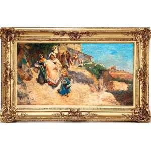 """GRUPO DO LEÃO - NATURALISMO PORTUGUÊS<br /><br />CARLOS REIS (Carlos António Rodrigues dos Reis, Torres Novas, 1863 - Coimbra, 1940) <br />Todo artista estrangeiro é apregoado como atribuído<br />MEDIDAS: 41 X 76 cm. / 60 x 95 cm.<br />ÓLEO SOBRE TELA.<br />""""A CAMINHO DO BATIZADO""""<br /><br /><br />COTAÇÕES: https://www.invaluable.com/artist/reis-carlos-h1lrxyq43n/sold-at-auction-prices/<br /><br />O Grupo do Leão de artistas portugueses se reunia, entre 1881 e 1889, na Cervejaria Leão de Ouro em Lisboa e, contava com jovens artistas, que se viriam a destacar, como Silva Porto, José Malhoa, Carlos Reis e os irmãos Rafael e Columbano Bordalo Pinheiro.<br />Grupo responsável pela pintura do Naturalismo em Portugal, representou a ruptura com o artístico vigente, retratando temas do quotidiano e vida nos campos, em cenas repletas de luz e com grande liberdade de representação, tornando-se a vanguarda portuguesa. O Grupo manteve-se regular até 1888, ano da realização da última exposição. <br />Hoje são os grandes nomes de Portugal<br />"""