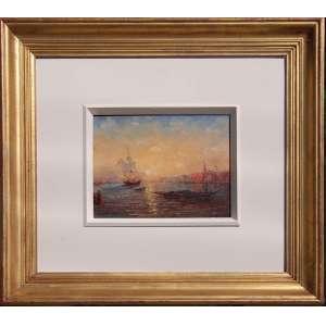 COLEÇÕES ITALIANAS EM SÃO PAULO - INICIO DO SECULO XX<br /><br />Sem assinatura<br />Pôr do sol em Veneza com embarcações<br />Óleo sobre cedro<br />Medidas: 20 x 25 cm. / 49 x 53,5 cm.