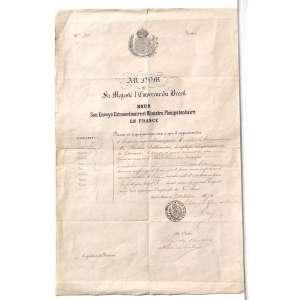 MISSÃO OFICIAL DO GOVERNO IMPERIAL DO BRASIL<br />Documento escrito em Francês, assinado pelo designado RÉGIS DE OLVEIRA ostentando o carimbo da legação imperial do Brasil na França (Estrutura diplomática abaixo da Embaixada). Papel timbrado com o Brasão Imperial e de posse pessoal de ALEXANDRE AFFONSO DA ROCHA SATTAMINI, datado de 1876 que objetivava guarnecer o passe livre do COMANDANTE SATAMINI em território francês declarando este em MISSÃO OFICIAL DO GOVERNO IMPERIAL DO BRASIL na Europa, pedindo ainda que lhe fosse dado ajuda e assistência sendo que também portava um passaporte assinado pelo redator deste.<br /><br />Transcrição do Documento:<br />Au nom <br />de<br /> Sa Majesté l'Empereur du Brésil<br /> nous <br />son envoyé extraordinaire et ministre plénipontaire<br /> en france<br /><br />Prions ex requerons tous ceux a qui il appadiendra de laisser surement et librement passer monsieur le commandeur da rocha satamini, employé superieur de la douane, chargé d'une mission du governement bresilien en europe, se rendant a sans lui donner ni souffrir qu'il lui soit donne aucun empechement mais au contraire dede lui accorder aide et assistance au lesoin<br />En foi de quoi nous l'avons muni du présent passeport par nous signe sous l'empreinte de nos armes.<br /><br />fait à Paris, le 3 octobre 1876.<br /><br />par ordre de l'olivier attaché de légation.<br /><br /><br /><br />Papel carimbado: LEGATION IMPERIALE DU BRÉSIL EN FRANCE<br /><br />Medidas: 41,5 x 27 cm.<br />