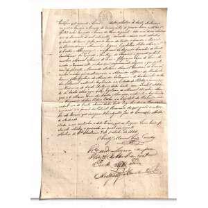 """Descrição do documento: certificado escrito por MANUEL LUIZ COIMBRA, que certifica o Matrimônio entre ALEXANDRE AFFONSO DA ROCHA SATTAMINI e IZABEL ADELAIDE DOS SANTOS MARQUES datado de 7 de outubro de 1866. Carta em papel original da marca MAURÈLE que ostenta em marca d'agua o brasão imperial e referente da lei do selo fixo de 1850, feito para amplificar a arrecadação do imposto do selo no brasil já no próprio papel.<br /><br />Papel com marca d'agua: Brasão Imperial, """"SELLO FIXO DFECRETO N 681 DE 10 DE JULHO DE 1850 IMPÉRIO DO BRASIL 1860 MA.<br /><br />Transcrição do documento:<br /><br />""""Certifico que segundo o livro desta matris de Santo antonio em que se lanção os termos de casamento de pessoas livres {...}<br /><br />Sto Antonio 7 de outubro de 1866, O COADJUTOR MANUEL LUIZ COIMBRA.<br /><br />Medidas: 33 x 22 cm."""