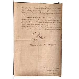 """Descrição do documento: Ofício de promoção de ALEXANDRE AFONSO DA ROCHA SATTAMINI do cargo de segundo conferente da alfandega do rio de janeiro para o cargo de primeiro conferente da mesma. Datado do ano de 1870 o documento é assinado por DOM PEDRO II, IMPERADOR DO BRAZIL, e por FRANCISCO SALLES TORRES HOMEM, o VISCONDE DE INHOMIRIM, que foi o responsável pelas mais duras críticas ao sistema Monárquico no panfleto """"o Libelo do Povo"""" sendo o Primeiro SENADOR NEGRO do império e também considerado o homem negro mais proeminente da politica de sua época, tendo participado das discussões da lei do ventre livre e mais tarde agraciado com o titulo de VISCONDE DE INHOMIRIM e ocupando o cargo de ministro da fazenda na gestão anterior á do VISCONDE DO RIO BRANCO. O documento ostenta anotações diversas no verso de autores distintos.<br /><br /><br />Transcrição do documento: <br /> <br />Hei por bem nomear o Segundo Conferente da Alfandega do Rio de Janeiro ALEXANDRE AFONSO DA ROCHA SATTAMINI para o lugar de Primeiro Conferente da mesma alfandega.<br />Francisco de salles torres homem, Conselheiro d'estado, senador do império , ministro e secretário d'estado dos negócios da fazenda e presidente do tribunal do thesouro nacional, afim tenha entendido e o faça executar. Palácio do Rio de Janeiro, vinde quatro de dezembro de mil oitocentos e setenta, quadragesimo nono da independencia e do império.<br /><br />COM A RUBRICA DE SUA MAJESTADE O IMPERADOR DOM PEDRO I<br /><br />FRANCISCO DE SALLES TORRES HOMEM<br /><br />Cumpra-se. Rio, 24 de dezembro de 1870.<br />TORRES HOMEM<br /><br /><br />VERSO:<br /><br />Grafias diversas e cores diferentes.<br /><br />Papel almaço Timbrado: Secretaria da Fazenda<br /><br />MEDIDAS: 37 X 24,5 CM. Folha Dupla<br /><br />"""