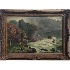 Escola de Philip James De Loutherbourg, <br />Cena de Naufrágio à costa perto do Castelo de Conway.<br />atribuído ao século XIX. <br />O.S.T.<br />Dimensões: 47 x 70,5 cm. / 63 x 86 cm.<br /><br />Pintor de família britânica e nascido na França Philip de Loutherbourg foi um dos muitos artistas que interpretou o cenário tenebroso em torno de Conway no final do século 18 e início do século 19. <br /><br />Nesta versão, o castelo surge no alto de uma colina à esquerda, recortado contra o céu. Dominando o estuário do rio Conway no norte do País de Gales, onde cinco pessoas observam assustadas o barco na tempestade do bravo mar espumante.<br />A combinação de mar e terra cria uma imagem de paisagem costeira e usa a linha costeira para explorar o perigo da situação e o esforço necessário aos homens para domar o barco. O uso dramático da luz convida o espectador a ler outros significados de interpretação alegórica, pois, embora apenas o mar separasse a Inglaterra da França revolucionária, isso também poderia ser um símbolo para a maré da revolução na própria Inglaterra. <br /><br />Similar a este óleo, outra versão foi exibida na Royal Academy em 1801 como Conway Castle from the ferry.<br /><br />SOBRE:<br />Nascido em Estrasburgo, filho de um miniaturista, de Loutherbourg já era um membro consolidado da Academia Francesa e pintor de Luís XIV quando o ator David Garrick o convenceu a se estabelecer em Londres como diretor cênico do Theatre Royal, Drury Lane 1773-83.<br />Ele foi um designer muito bem-sucedido e influente para o teatro e, principalmente como pintor de paisagens romântico, foi eleito para a Royal Academy em 1781, onde expôs lá quase todos os anos, de 1772 até sua morte em 1812.<br />