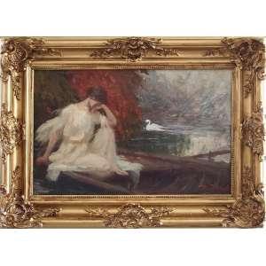 ESCOLA NACIONAL DE BELAS ARTES - MEDALHA DE OURO / PREMIO VIAGEM<br /><br />PEDRO BRUNO (1888 - 1949) <br />O Conto da Leda e o Cisne (Zeus)<br />O.S.T.<br />Medidas: 31 x 48 cm. / 44,5 x 62,5 cm. <br /><br />Em 1897, conheceu o pintor Giovanni Battista Castagneto, de que tornou-se discípulo.<br />Em 1905, com voz de barítono. aos quatorze anos, foi estudar no Conservatório de Nápoles e de Roma, retornando diplomado em canto lírico, trabalhou no Conservatório de Música do Rio de Janeiro.<br />Autodidata, em 1912, recebeu a Medalha de Bronze, do Salão de Belas Artes.<br />Em 1918 ingressou na Escola Nacional de Belas Artes e estudou com o grande mestre Baptista da Costa. <br />Em 1919, feito inédito, em apenas um ano de estudo o Conselho Superior de Belas Artes conferiu-lhe o Prêmio de Viagem da 26ª Exposição Geral. <br />Em 1920, ao chegar em Roma, Bruno inscreveu-se para a prova de admissão ao curso de pintura da Academia Inglesa, famosa instituição de ensino artístico classificando em 3º lugar. Decorridos apenas seis meses de sua matrícula, já era convidado pelos dirigentes da instituição para reger aulas de modelo vivo. <br />Na Itália, estão vários quadros, dois no Museu de Salerno e em galerias particulares.<br />De volta ao Brasil em 1922, ano de seu regresso, conquistou a Medalha de Ouro do Salão de Belas Artes.<br />Em 1924, pintor foi grande colaborador do Salão Paulista de Belas Artes até o ano anterior ao de sua morte. Em retribuição, dentre outras homenagens, a Prefeitura da Cidade de São Paulo batizou com seu nome uma rua do bairro de Butantã.<br />O último grande trabalho de Bruno foi a tela Gonçalves Dias, pintada no ano anterior ao de sua morte. Em 1948, Pedro recebeu a maior homenagem em vida: um busto seu foi erguido na praça que leva seu nome. A obra, idealizada por Paulo Mazucheli, tem como legenda: O poeta da cor, das árvores e dos pássaros.<br />Em 1950, através do Projeto de Lei nº 61, a câmara aprovou a criação do Museu Pedro Bruno. A falta d