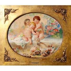 """ACADEMIA IMPERIAL DE BELAS ARTES - MEDALHA DE OURO / PREMIO VIAGEM<br /><br />OSCAR PEREIRA DA SILVA( 1867 - 1939)<br />Medidas: 50 x 70 cm. / 83 x 96 cm. <br />Óleo sobre tela.<br />EROS e os Mensageiros do Cupido, pombos-correios são alimentados pelo milho dos celeiros da Deusa Vênus (Afrodite), simbolizada pela concha.<br />Primeira década do ano 1.900.<br /><br />TEMAS DA MITOLOGIA GRECO-ROMANA estiveram em voga nas Academias Francesas e Romanas, com o movimento do Neoclassicismo, final do século XIX e principio do século XX. Influenciou diretamente os brasileiros que por lá passaram ,gozando premio viagem como Weingartner, Oscar Pereira e outros.<br /><br />TEMÁTICA MITOLÓGICA NO TEATRO MUNICIPAL DE SÃO PAULO: Entre 1903 e 1911, elaborou três murais:<br />O Teatro na Grécia Antiga, A Dança e A Música. Segundo o historiador Richard Santiago Costa: """"(...) Trata-se de um conjunto de pinturas monumental, que muitas pessoas não conhecem e com uma qualidade absurda, com status de cartão postal. Esses elementos do Teatro mostram ao mundo como nosso país é rico"""".<br />A DEUSA VÊNUS, era opositora da beleza mortal de PSIQUÊ, mandou seu filho, o CUPIDO EROS para eliminá-la. Mas o mesmo , ferido acidentalmente por sua próprias fechas, apaixonou-se , dando origem a diversos episódios como retratados na pintura como """"Banquete do casamento de Cupido e Psiquê"""",Rafael Sanzio (1483–1520) .<br />NUMA DAS TAREFAS, VÊNUS mandou que Psiquê fosse levada para os armazéns do seu templo, onde estava guardada uma grande quantidade de trigo, cevada, milho,ervilhas, feijões, e lentilhas preparados como alimento para os seus pombos, e disse: Pegue e separe todos esses grãos, colocando todos do mesmo tipo juntos no mesmo lote, e veremos o que você consegue fazer até o anoitecer. <br />"""