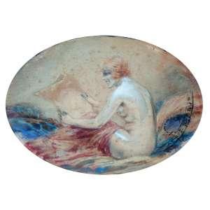 JACQUES DEBUT (PARIS , CERCA 1905)<br />Risque Nude Woman<br />MEDIDAS:10X13 CM.<br />AQUARELA ORIGINAL.<br />MOLDURA ORIGINAL EM BRONZE LAVRADO.<br /><br />Nasceu em Paris no final do século XIX. Foi aluno de Bonnal.<br />Estreiou expondo no Salon des Artistes Français, no início do século. Era um aquarelista de sucesso em Paris, seus trabalhos apareceram em muitas revistas e publicou muitos cartões-postais de mulheres elegantes. Tornando-se um dos grandes nomes do designer gráfico na Paris da Belle Epoque.<br /><br />REFERÊNCIA: https://www.invaluable.com/artist/debut-jacques-ygxj53zbb6/sold-at-auction-prices/<br /><br />