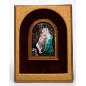 Limoges Enamels France - pintura em esmalte sobre placa de cobre. Figurando Madona, menino e livro. Monogramada S.B., emoldurada. Medidas: 20 x 15 cm.