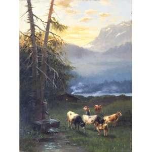Henrik Wolff (Dinamarca, séc. XIX) <br />MEDIDAS: 25 x 19 cm.<br />TÉCNICA: O.S.M.<br />MOLDURA: de época.<br />TEMÁTICA: Vacas bebendo água<br />Observa-se nesta obra imensa similaridade dos animais com a obra leiloada pela Christies em 2004 (vide foto).