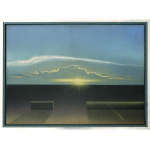 Ivan Freitas (João Pessoa, PB 1931- Rio de Janeiro, 2006)<br />Medidas: 50 x 70 cm<br />Medidas com moldura: 56 x 76 cm. <br />O.S.E. <br />Pôr do sol, 1986.