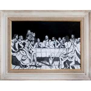 Simone Ribeiro<br />Medidas: 80 x 120 cm. <br />Grafite, carvão e acrílico sobre M.D.F.<br />D'aprés Philippe de Champaigne, 1648<br />Santa Ceia