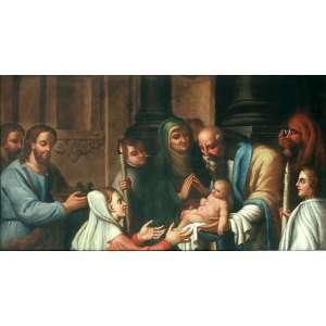 """APRESENTAÇÃO DO MENINO JESUS NO TEMPLO. <br />Óleo sobre tela 82,5 x 150,5 cm.<br />Medida total com moldura:175x108x6 cm.<br />Pintura européia,século XIX. Não apresenta assinatura. <br /><br />Da esquerda para direita: São José (com a oferenda: cesto com dois pombinhos), Maria, profetiza Ana, profeta Simeão segura o Menino Jesus, Rabino. Dois meninos seguram velas . Há ainda uma figura masculina secundária detrás de José .<br /><br /><br />(...) Quando se completaram os oito dias para ser circuncidado o menino,<br />terminados os dias da purificação, segundo a lei de Moisés, levaram-no a Jerusalém, para apresentá-lo ao Senhor<br />(conforme está escrito na lei do Senhor: Todo primogênito será consagrado ao Senhor),<br />e para oferecerem um sacrifício segundo o disposto na lei do Senhor: um par de rolas, ou dois pombinhos.<br /><br />21.Completados que foram os oito dias para ser circuncidado o menino, foi-lhe posto o nome de Jesus, como lhe tinha chamado o anjo, antes de ser concebido no seio materno. 22.Concluídos os dias da sua purificação segundo a Lei de Moisés, levaram-no a Jerusalém para o apresentar ao Senhor, 23.conforme o que está escrito na Lei do Senhor: """"Todo primogênito do sexo masculino será consagrado ao Senhor"""" (Ex 13,2); 24.e para oferecerem o sacrifício prescrito pela Lei do Senhor, um par de rolas ou dois pombinhos. 25.Ora, havia em Jerusalém um homem chamado Simeão. Esse homem, justo e piedoso, esperava a consolação de Israel, e o Espírito Santo estava nele.* 26.Fora-lhe revelado pelo Espírito Santo que não morreria sem primeiro ver o Cristo do Senhor. 27.Impelido pelo Espírito Santo, foi ao templo. E tendo os pais apresentado o menino Jesus, para cumprirem a respeito dele os preceitos da Lei, 28.tomou-o em seus braços e louvou a Deus nestes termos: 29.""""Agora, Senhor, deixai o vosso servo ir em paz, segundo a vossa palavra. 30.Porque os meus olhos viram a vossa salvação 31.que preparastes diante de todos os povos, 32.como luz para iluminar as """