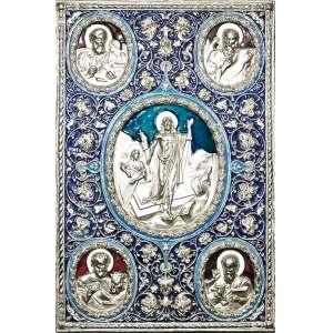 MIROSLAW MROZOWSKI- Ícone ao estilo Bizantino da igreja ortodoxa Russa. retratando Ressureição de Cristo, na galeria central, adornado com os 4 Evangelistas e os animais que o simbolizam. Placa de cobre, banho de prata e esmaltagem sobre madeira, fundo encapado de veludo. Polônia, século XX. Med. 40x26,5 cm. Peso:1.800 Kg.<br />REFERÊNCIA:Dr. Miroslaw Mrozowski fundou a Melaloplastic em 1982. Desde então, ele se aposentou da química para se dedicar em tempo integral a fazer uma variedade de trabalhos em metal, incluindo ícones e arte judaica. Ele é membro da Associação Americana de Arte Judaica e foi premiado com a Medalha de Honra pela Nissenbaum Family Foundation. Dr. Mrozowski utiliza tecnologia moderna e suas próprias habilidades artísticas para produzir reproduções e originais requintados e acessíveis.<br />FONTE:http://www.carolventura.com/MiroslawMrozowski.htm