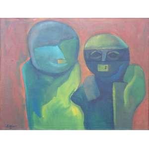 SIRON FRANCO <br />76 x 100<br />Raríssima obra do ano de 1971<br />Nessa época, em São Paulo, integra o grupo que faz a exposição Surrealismo e Arte Fantástica, na Galeria Seta e volta para Goiânia, onde prepara trinta telas que envia ao Iate Clube do Rio de Janeiro, onde faz sua primeira exibição individual.<br />Essa importante fase de Siron vem desembocar nas séries Fábulas de Horror (1975) ou Semelhantes (1980), onde pinta figuras de ar sinistro, que não têm traços distintivos ou que apresentam deformações, tem sido associada por alguns críticos à produção do artista inglês Francis Bacon (1909-1992), por ser povoada por seres monstruosos ou por revelar uma dimensão aterrorizadora.