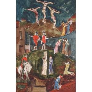 Mário Mendonça (Rio de janeiro, 1934)<br />Crucificação <br />90 x 60 <br />Datado de 1965, dois anos antes, em 1963, aos 29 anos, Mário Mendonça foi hóspede de Emeric Marcier, no sítio de Sant'Ana, em Barbacena, iniciando ali seu ponto referencial de vida e pintura brasileira. Posteriormente pinta com Ivan Serpa e com Aloísio Carvão. <br />Pintou painéis, afrescos e pinturas em igrejas no estado do Rio de Janeiro e possui quadros em coleções importantes, como as do Museu do Vaticano, e de cidades como Nova Iorque, Paris, Londres, Madri, Lisboa, Berlim, Sófia, Pequim e Tóquio.
