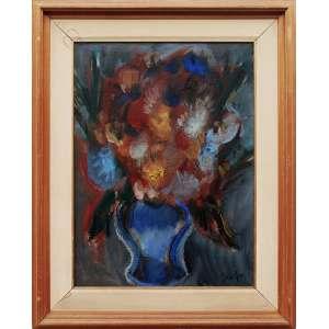 CARLOS BRACHER (Juiz de Fora, MG 1940) <br />Vaso com flores – OST - 73 x 54 – 1987 - ACID