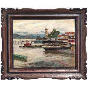 NICOLA FABRICATORE - Itália 1889 - 1960<br />ICONOGRÁFICO: Santos, 1950<br />Óleo sobre cartão<br />Medidas: 35 x 43 cm. / (moldura Kaminagai) 51 x 59 cm.<br /><br />Estudou na Escola de Belas Artes de Nápoles. <br />A partir de 1911 expôs no Brasil em diversas ocasiões e conviveu com o círculo de pintores italianos em São Paulo.<br />O jornal O Estado de S.Paulo noticia, ao longo dos meses de maio e junho de 1913, diversas aquisições de suas obras por parte de colecionadores locais. entre eles o pintor Oscar Pereira da Silva. <br />De volta à Itália, faz uma série de três afrescos, todos de 1926, para a Igreja Madonna Delle Grazie, em Piedimonte Matese. <br />Expôs várias vezes na Bienal de Veneza, de Nápoles e de Milão, <br />Expôs na Quadrienal de Roma e na Bienal de Roma. <br />Participa da Exposição Universal de Paris, em 1937, obtendo a medalha de ouro<br />Expôs em Baltimore, Cleveland e Nova York, nos Estados Unidos.<br /><br />Exposições:<br /><br />1911 - São Paulo SP - Fabricatore, na Casa Castro<br /><br />1913 - São Paulo SP - Da Corsi, Fabricatore, no Salão Mascarini<br /><br />1914 - São Paulo SP - Coletiva, na Casa Mascarani<br /><br />1920 - Fiume (Itália) - Exposição de Fiume - medalha de prata<br /><br />1920 - Roma (Itália) - Biennale Di Roma<br /><br />1921 - Itália - Internacionale Grigio Verde<br /><br />1921 - Nápoles (Itália) - Biennale Di Napoli<br /><br />1922 - Itália - no Palazzo Pitti<br /><br />1922 - Veneza (Itália) - Biennale Di Venezia<br /><br />1927 - Palais Royal Monza<br /><br />1931 - Atenas (Grécia) - Settimana d´Atene<br /><br />1931 - Roma (Itália) - Quadriennale Romane<br /><br />1932 - Cleveland (Estados Unidos) - Museum of Art Cleveland, Ohio<br /><br />1933 - Nova York (Estados Unidos) - Syracuse Museum<br /><br />1937 - Paris (França) - Exposição Universal de Paris - medalha de ouro<br /><br />1943 - Roma (Itália) - Quadriennale Romane<br /><br />1948 - Veneza (Itália) - Biennale Di Venezia<br /><br /> <br /><br />Expos
