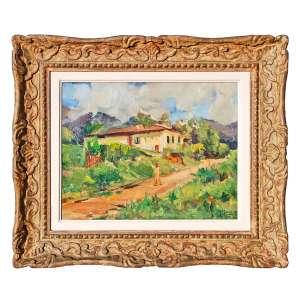 MANUEL MADRUGA (1882-1951)<br />Paisagem Rural, década de 1940<br />O.S.T.<br />Medidas: 33 x 41 cm. / (moldura Kaminagai) 53 x 61 cm.<br /><br />Estudou na Academia Imperial de Belas Artes, sob orientação de João Zeferino da Costa e José Maria de Medeiros, onde obteve menção honrosa no de 1894 e medalha de ouro em 1898.<br /><br />Posteriormente ligou-se a Antônio Parreiras para fundarem o mais importante grupo de sua época, em contraposição a Academia Imperial, o grupo Grimm, liderado pelo próprio Jorge Grimm.<br />O grupo propunha a pintura ao ar livre, e nele, seu amigo mais próximo era Antônio Parreiras.<br /><br />Viajou para a Europa em 1894, subvencionado por seu tio, coronel Tomás Madruga, onde estudou na Academia Julien, sob orientação de Jean Laurens e Marcel Baschet. Permaneceu um ano em Roma, na Itália. Voltou a Paris, onde realizou grande parte de seu trabalho. <br /><br />Em 1898 em diante participou do Salão da Sociedade dos Artistas Franceses e de fez em Paris algumas individuais, inclusive no Musée Carnavalet<br /><br />No Brasil, em 1899, realizou uma exposição individual, cujo tamanho sucesso financeiro permitiu-lhe voltar para Paris onde fez carreia e viveu por 40 anos, até os idos de 1940.<br /><br />em 1911 a equipe de artistas encarregada da decoração do Pavilhão do Brasil na Exposição Internacional de Turim. Pintou para a ocasião enorme painel de cinco por dez metros, O Brasil ofertando os produtos do seu solo ao mundo, adquirido mais tarde para o Ministério da Agricultura e depois foi destruído por falta de cultura e manutenção.<br /><br />Após 40 anos, de volta ao Brasil devido a II Guerra Mundial, venceu o concurso para as decorações do novo edifício do Ministério da Guerra, com O Grito do Ipiranga. <br /><br />Em 1940 participou do Salão Paulista de Belas Artes e obteve a medalha de prata e a medalha de ouro - postumamente - em 1952. <br /><br />Praticou um tardio Impressionismo, que cultivou com sensibilidade e emoção verdadeiras.<br />