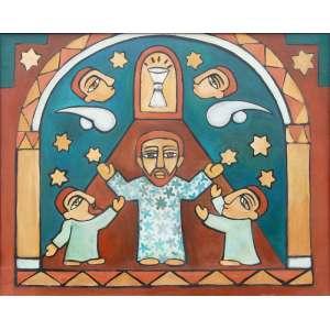 Raimundo de Oliveira (1930-1966)<br />Cristo, dois apóstolos e dois anjos (Cálice Sagrado), 1960<br />O.S.T.<br />Ass. verso<br />Medidas: 80 x 100 cm.<br />Ex-coleção Glauber Rocha