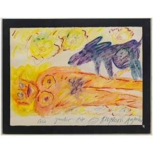 Angelo de Aquino - Rex e Figura, 1984 - Aquarela e<br />pastel s/ papel<br />Ass. inf. direito<br />Localizado e datado, Rio-Julho 1984 - 57 x 75 cm