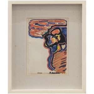 Rubens Gerchman <br />- Beijo - <br />Técnica mista s/ papel<br />Ass. inf. direito - 23 x 16 cm