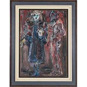 Iberê Camargo (1914-1994)<br />Figura nº 43, 1986<br />Medidas: 78 x 55 cm.<br />Óleo s/ tela<br />Ass. inf. esquerdo e datado 18/06/86<br /><br />Sem exagero, acredito, a obra de Iberê Camargo encarna hoje a pintura moderna no Brasil. A imagem, corriqueira, adquire no caso valor expressivo de verdade: as suas telas parecem efetivamente encarnar a pintura. ( Ronaldo Brito)<br /><br />No começo dos anos 1970, aparecem signos e figuras reconhecíveis pontuando as pinceladas grossas de cores indefinidas de sua pintura. De certo modo, esta dinâmica prenuncia a volta à figuração do artista nos anos 1980. O ano de 1980 é particularmente dramático para o pintor, que é preso por ter matado um homem. Ao ser absolvido, em 1982, ele volta a viver em Porto Alegre.<br />Após esse dramático episódio, sua arte instintivamente retomou o figurativismo, assim permanecendo até seus últimos anos.<br />Nesses momentos finais o homem corroído pelo sofrimento se purifica, enquanto o artista atinge a plenitude de sua arte para se tornar uma das expressões mais altas da moderna pintura brasileira.<br />