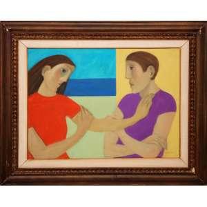 QUAGLIA, João Garboggini (1928 - 2014)<br />Figuras <br />Óleo s/ tela <br />Medidas: 55 x 75 cm.<br /><br />Reproduzido no catálogo Leilão Vitor Braga, Novembro de 2012<br /><br />BIOGRAFIA: <br />Pintor, desenhista, gravador, ilustrador e professor. Inicia sua formação artística em Salvador, Bahia, estudando litogravura com Mário Cravo, por volta de 1945. Em 1947 transfere-se para o Rio de Janeiro onde cursa a Escola Nacional de Belas Artes dois anos depois, tendo como mestres Carlos Del Nero e Jordão de Oliveira. Em 1950, estuda pintura na Associação Brasileira de Desenho, sendo aluno de Ado Malagoli e Barbosa Leite. Nesta época, faz aperfeiçoamento em litogravura com Darel Valença Lins. Em 1956, realiza os murais para a Base Aérea de Salvador e para a Embaixada Brasileira, em Madri, Espanha. No ano de 1958, recebe o prêmio de viagem ao exterior do Salão Nacional de Arte Moderna e viaja para Madri, onde estuda pintura no Taller Boj. Na década de 60, ilustra o álbum de litografias Corrida de Touros, com textos de João Cabral de Melo Neto (1920 - 1999). Além dessas atividades, atua como professor de pintura e gravura na Associação Brasileira de Desenho no período de 1952 a 1964; na Universidade de Santa Maria; na Escola de Belas Artes de Minas Gerais e no Festival de Ouro Preto.<br /><br />Fonte: Itaú Cultural