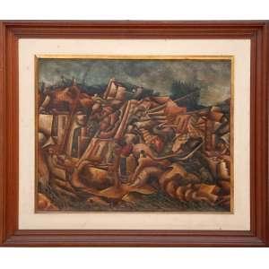TOBIAS MARCIER (1948, Barbacena, MG - 1982, Rio de Janeiro, RJ)<br />O.S.T 74 X 83<br />SURREAL, 1977.<br /><br />Filho do pintor Emeric Marcier. Em sua cidade natal, lecionou cerâmica e foi decorador do Carnaval de 1968. Realizou individuais no Rio de Janeiro (Galeria Bonino, 1973 e 1975, Galeria B-75 Concorde, 1979) e em Belo Horizonte (Galeria Guignard, 1977). Walmir Ayala comentou a seu respeito em março de 1979: Uma pintura sem protagonistas, com estandartes de mistério e projeções de memória, definindo a categoria somatória da natureza humana, como síntese de testamentos, desde sempre, desde o domínio passivo do paraíso à revolta fecunda da contrafação. Desta maneira ainda um pintor atento às vozes primeiras, como seu pai, mas com a liberdade prodigiosa de ter sabido verter esta audição em vocabulário pessoal e renovado. No Dicionário crítico da pintura no Brasil (Artlivre, 1988), José Roberto Teixeira Leite destaca seus bons recursos de desenho, de cor, de textura e de composição. <br />Fonte:CDA<br />