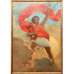 Décio Villares (1851-1931)<br />Alegoria de Apolo c. 1910<br />Medidas: 141 x 96,5 cm<br />O.S.T.<br />Sem assinatura<br />Reproduzido fotograficamente no Catálogo do leilão Pequena história da arte moderna e contemporânea Soraia Cals - Evandro Carneiro, Maio, 2007.<br /><br />Detalhe central ou versão do clássico Apolo e as Musas do pintor francês período barroco Simon Vouet (1590 - 1649).<br /><br />Biografia:<br />Pintor, escultor e caricaturista. Formado pela Academia Imperial de Belas Artes (Aiba), no Rio de Janeiro, estuda na Europa, intercalando idas e vindas entre 1872 e 1881. Aluno de pintores consagrados como Victor Meirelles (1832-1903), Alexandre Cabanel (1823-1889) e Pedro Américo (1843-1905), é classificado em primeiro lugar em concurso para professor da Académie des Beaux-Arts [Academia de Belas Artes] de Paris, mas rejeita o cargo por não querer se naturalizar francês. Na França, adere a teses positivistas. Retorna definitivamente ao Brasil em 1881 e passa liderar, em 1888, o grupo dos positivistas que se contrapõe aos modernistas e às reformas que eles exigem que sejam implementadas na Aiba. Passa a desenhar caricaturas para jornais satíricos e, em 1889, participa da concepção da bandeira brasileira. Expõe em 1874, no salão de Paris, o quadro Paolo e Francesca da Rimini. Participa da 25ª e da 26ª Exposições Gerais de Belas Artes na Aiba. Parte de suas obras é incendiada porque sua esposa, num acesso de loucura logo após a morte de Villares, ateia fogo a seu ateliê.<br /><br />Comentário Crítico<br />Décio Villares forma-se na tradição instituída pela Academia Imperial de Belas Artes (Aiba), Rio de Janeiro, trabalhando tanto na pintura quanto na escultura. Por influência de Pedro Américo (1843-1905) pinta temas bíblicos, e chega a receber uma medalha de ouro pela obra São Jerônimo, na Exposição Geral de Belas Artes, no Rio de Janeiro, em 1879. Suas posições ressoam na pintura: nesse momento, a última década do império, Villares é um pintor de formaçã