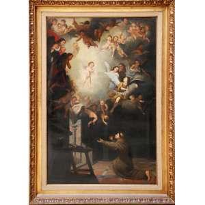 """ESCOLA EUROPEIA, século XIX.<br />167 X 114 cm O.S.T.<br />VISÃO DE SANTO ANTÔNIO<br />Não consta assinatura.<br />Episódio retratado em clássicos como o do Mestre italiano Vicente Carducho 1631, Museu Hermitage, São Petersburgo.<br />Mestre português Claudio Coello, A visão de Santo Antonio de Pádua, 1663, pintor oficial do rei Carlos II.<br /><br />Biografia:<br />O santo representado nasceu em Lisboa em 1195 sob o nome de """"Ferdinando"""", mas foi renomeado por """"inestimável"""" ou Antônio. Tornou-se um dos mais eloqüentes pregadores franciscanos da igreja católica. Apesar de hoje ser mais reconhecido por ser supostamente capaz de ajudar a encontrar coisas perdidas, em vida, ficou conhecido como """"malleus hereticorum"""" ou """"martelo dos hereges"""" por sua postura irredutível contra as heresias. Falecido em 1231 aos 36 anos, foi canonizado no ano seguinte pelo papa Gregório IX e considerado um dos doutores da Igreja em 1946. (...) A obra pictórica em questão fazia sentido especialmente na Espanha inquisitória do século XVII.<br />O quadro pode ser apreciado por suas características teatrais hoje consideradas barrocas, pelos simbolismos dos elementos presentes na cena e pela beleza geral do conjunto. Afinal a clareza da representação do franciscano humilde em adoração à presença divina do menino Jesus sustentado por querubins sob um globo brilhante é ainda mais valorizada pelas capacidades artísticas de representar atmosferas e influir sentimentos. (...)<br />As obras devocionais católicas no século XVII faziam parte de uma estrutura consolidada de parâmetros e linguagens instituídas especialmente após o Concilio de Trento.<br /><br />FONTE: http://www.entreculturas.com.br/2011/02/a-visao-de-santo-antonio-de-padua-obra-e-trajetoria/<br /><br />"""