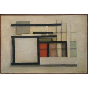 CARVÃO, Aluisio (Belém PA 1920 - Poços de Caldas MG 2001)<br />40x60 cm./ 42x62 cm.<br />Óleo sobre tela.<br />Composição, 1959<br />Procedência Dan Galeria.