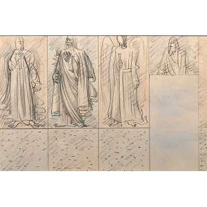 """PORTINARI - Candido <br />(Brodowski, SP 1903 — Rio de Janeiro, 1962)<br />42,5x58,5 cm. / 70,5 x86,5 cm.<br />Desenho a grafite lápis de cor.<br />Reproduzido no catálogo raisonné do Projeto Portinari<br />Santos, 1944. 2175 FCO1020, volume 3, página 46.<br /><br />Divina Pastora"""" [FCO 1013]<br />TEMAS:<br />Religioso:Santos<br />Religioso:Arcanjo<br />Figura Humana:Homem<br />DESCRIÇÃO:<br />Composição nos tons preto, rosa, azul e branco. Linhas de contorno e sombreados. Suporte dividido em três retângulos dispostos lado a lado, na vertical, arrematados por quadrados na parte de baixo. À direita, retângulo maior, em azul, que corresponde ao espaço da porta da parede da sala de jantar, onde seria realizada a pintura mural; acima deste retângulo outro menor servindo de arremate. No primeiro retângulo, santo em pé de frente usando longa túnica e manto, braço dobrado na altura do peito e o esquerdo ao longo do corpo, rosto esboçado com barba; fundo em tom rosa. No segundo retângulo outro santo em pé, 3/4 voltado para a esquerda, usando longa túnica e manto, braço esquerdo dobrado na altura do peito, rosto esboçado com longa barba; fundo em tom de azul. No terceiro retângulo, arcanjo em pé, de frente; tem grandes asas, veste túnica longa e segura na mão direita espécie de espada cuja ponta está apoiada no chão; fundo em tom azul. No retângulo acima da porta, meio-busto de santo com barba contra fundo rosa. O fundo de todos os retângulos além da cor estão preenchidos por tracejado rápido de grafite, os dois quadrados laterais abaixo dos retângulos estão coloridos de azul, vendo-se também tracejado rápido a grafite e pontinhos. O quadrado central está colorido de rosa também com rápido tracejado a grafite e pontinhos."""